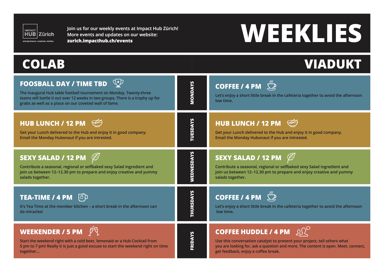 Meet our Weeklies at Colab and Viadukt
